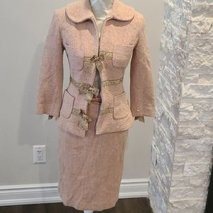 NWT Tracy Reese Pink silk, wool, Angora suit